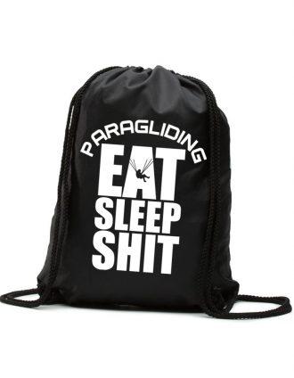 Eat Sleep Shit Paragliding Siklóernyős Hátizsák fekete fehér